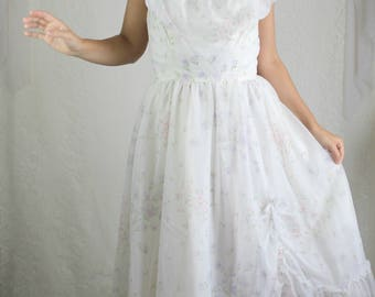 70s Floral Wedding Dress // Vintage Bridal Gown Ruffles Maxi Dress // Size: S