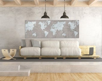 WORLD MAP Canvas Print Brown Vintage Taupe Light Blue Gray World Map Panoramic Extra Large Long Wall Art Vintage Oversized wall art poster