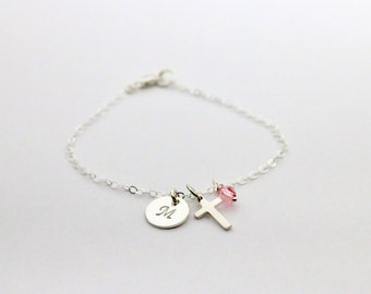 God Daughter Bracelet, Personalized Sterling Silver Cross with Birthstone, God Daughter Gift for Baptism, First Communion and Confirmation