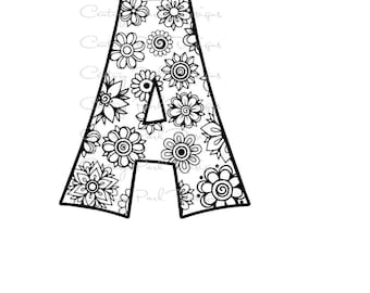 Letter A Alphabet Flowers SVG / JPEG / PNG /pdf / use with Silhouette Studio and Cricut Design Space - Commercial Use - Adult Coloring Page