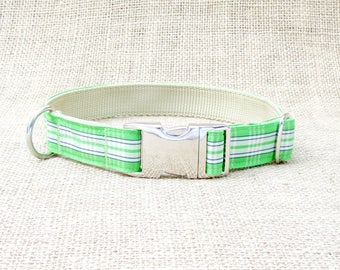 "Green and Black Plaid Dog Collar~ 1"" Wide, with Metal Side Release Buckle"