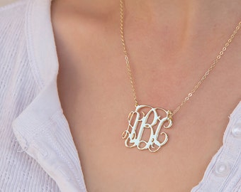 Monogram Initial necklace - Personalized Monogram - Gold Filled Monogrammed necklace - Personalized Jewelry - Bridesmaid Gift - Wedding Gift