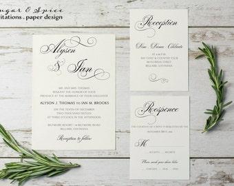 calligraphy wedding invitation suite romantic calligraphy wedding invitations white wedding invitaiton printable - Calligraphy Wedding Invitations