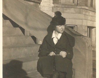"Vintage Snapshot ""Front Steps"" Brownstone Urban Street City Scene Young Woman On The Stoop Stairs Shadows Found Vernacular Photo"