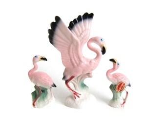 Miniature Pink Flamingo Figurines, Flamingos Figures, Vintage Pink Flamingo Decor