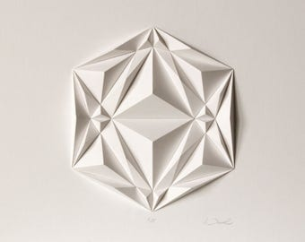 Icosa2 Origami Wall Art - Folded Paper Crystal Mosaic Relief Modern Geometric Abstract Sculpture