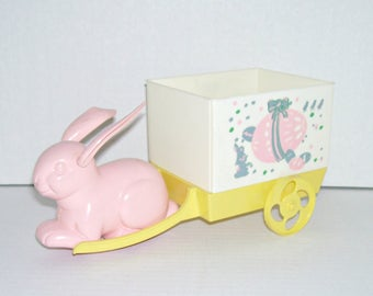 Vintage Plastic Easter Bunny Pulling Wagon Cart Toy
