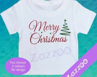Merry Christmas T-shirt or Onesie Bodysuit Romper by Zazzoo, Glitter Christmas T-shirt, 1st Christmas Outfit, Christmas Photo Prop