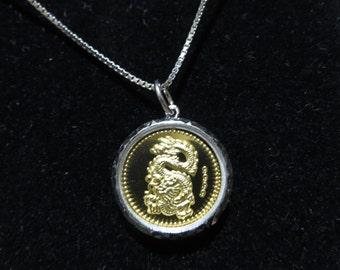 Beautiful 9999 Chinese Dragon Gold Bullion Pendant / Necklace