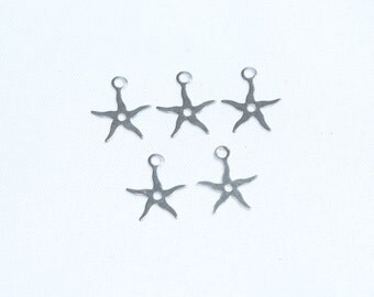 Silver Plated Starfish Charms, Silver Plated Supplies,Starfish Charms,Mini Starfish Charms,Tiny Starfish Charms,Starfish Pendant,SKU/A27