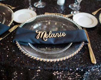 Wood Place Card Names Plate Name Cutout Wedding Party or Event Decor, Small Laser Cut Escort for Table Wood Gold or Silver (Item - LPC200)