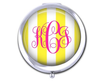 Monogram pocket mirror bridesmaid gift for teacher preppy stripes compact mirror.