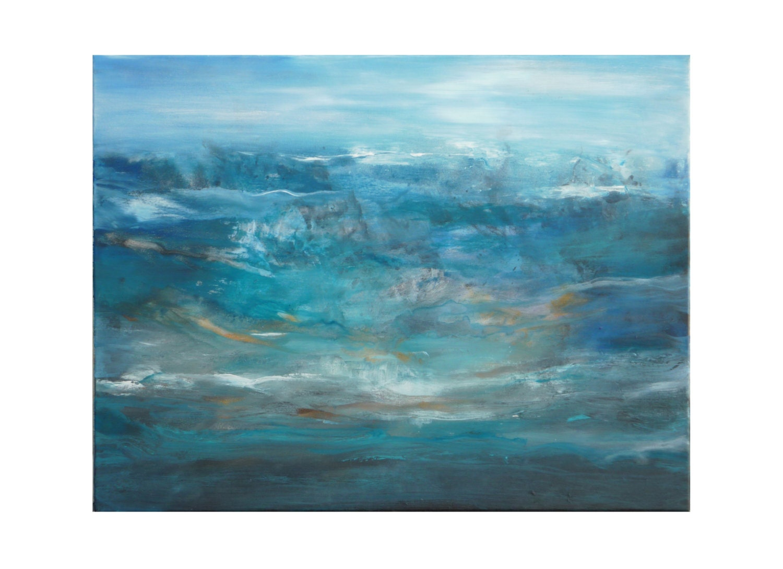 Photographie peinture paysage marin abstrait turquoise bleu for Peinture gris turquoise