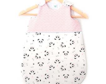 "Sleeping bag "", three, PANDA!"" (bows & triangles and chevrons, Nordic inspired / Scandinavian)"