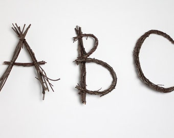 3 Large Twig Letters: Any 3 Letters or Numbers