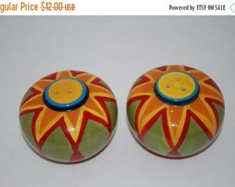 ON SALE Salt and Pepper Shakers Sun Handpainted