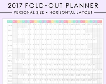 PERSONAL Fold-Out 2017 Horizontal Year Planner Printable | Folding 2017 Planner, 2017 Year Overview, Filofax, Kikki K, Instant Download