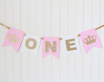 Princess Crown Gold & Pink, white ONE High Chair Banner Happy Birthday /Pink Ombre Royal Birthday/ Princess tiara Party/ Decor/1st birthday
