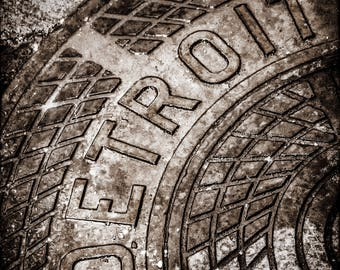 Canvas/Metal Print: Detroit Manhole Cover