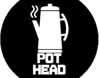 New Handmade Black Fashion 1 Inch 25mm Badge Button Pin Pot Head Pothead Funny Coffee Addict Lover Gag Gift