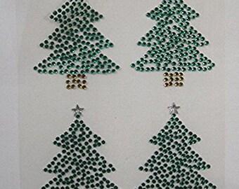 CraftbuddyUS 4 Self Adhesive Christmas Tree, Diamante Stick On Gems - Xmas, Wedding, Cards
