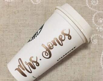 Teacher Starbucks Cup, End of Year Gift, Bride Starbucks, Teacher Fuel, Best Teacher Gift, Teacher Surprise, Preschool Gift, Teacher Mug