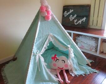 Vintage Chenille Teepee, Mint Green Teepee, Teepee, Play Tent, Girls Teepee, Teepee Tent, Play Teepee