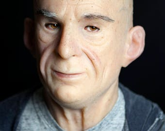 "Silicone Mask Old Man ""Barrie"" Hand Made, Halloween High Quality, Realistic,"