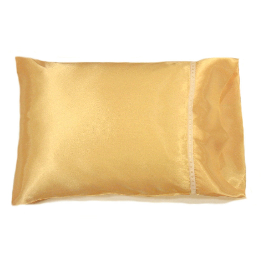 Yellow Satin Accent Pillow Romantic Bedding Charmeuse Travel