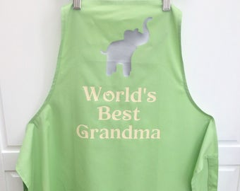 Personalised Grandma Apron, Grandma Gift, Mothers Day Gift, Grandmother, Cooking Gift, Elephant Apron, UK