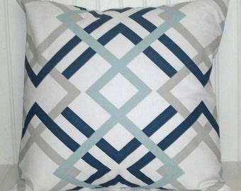 Navy/ Gray/ Aqua Decorative Pillow Cover, Blue Throw Pillow Cover,  Navy and Gray Throw Pillow Cover, Modern Pillow Cover
