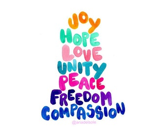 Hope and Unity Watercolor Art Print   Handlettering   Joy to the World   Home Decor   Holiday   Wall Art   World Peace   Grateful