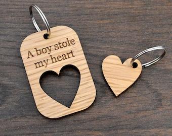 A Boy Stole My Heart Valentines Day Love Keyring Present for Boyfriend