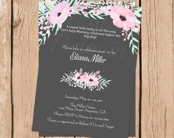 Rustic Baby Shower Invitation, Floral Baby Shower Invite, Watercolor Invitation, Romantic Baby Shower Invite, Printable Invitation