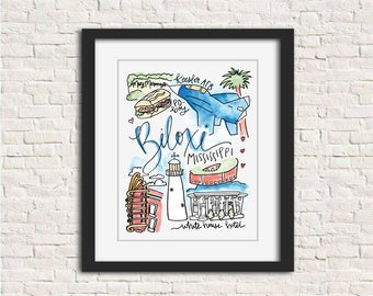 Biloxi, Mississippi MS Art Wall Art Gift Painting Watercolor Handlettered