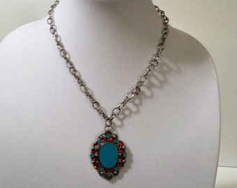 Aqua and red pendant with silver chain