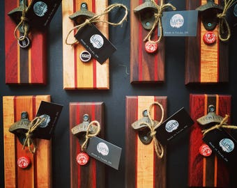 Wall mounted bottle openers with hidden magnet