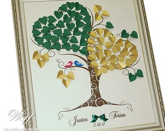 Personalized Gold & Green Wedding Love Tree Guest Book Ideas with custom names and birds - Modern alternative to traditional guestbooks
