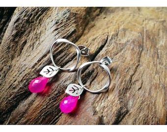 Pink Leave Circle Earrings
