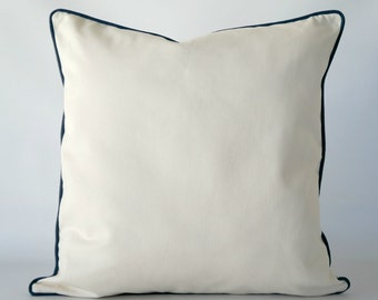 Off white pillow cover, off white pillow cover navy blue trim, off white pillow, white pillow with navy blue trim, decorative pillow cover
