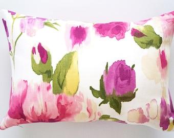 Pink Floral Pillow Cover, floral pillow cover, rectangle pillow, decorative pillow cover, throw pillow, pink pillow cover, lumbar