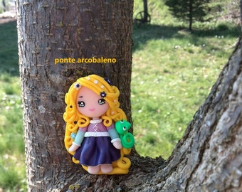 Rapunzel fan art necklace/ clay doll/ handmade/ polymer clay/ princess/ gift/ collection