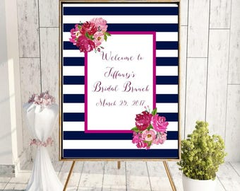 Bridal Shower Welcome Sign - Bridal Brunch - Navy and White Striped - Pink Peony Floral - Watercolor Floral - Printable Sign