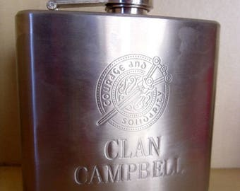Vintage flabby, flaccid whisky Clan Campbell, steel stainless 5 oz