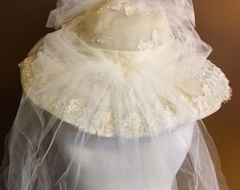 Antique Bridal Hat with Veil Vintage Wedding
