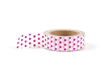 Pink foil polka dot washi tape: pink, stationery, stationary, LittleLeftyLou, Snail Mail, Happy mail, masking tape, 10 meter, foil tape