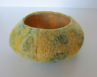Yellow and green felt bowl