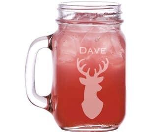 Personalized Buck/Deer/His/Mason Jar Mugs 16oz. groomsman mason jars, wedding mason jars, custom mason jars