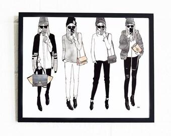 Fashion Wall Art / Fashion Poster / Fashion Illustration Print / Fashion Illustration / Woman Illustration / Fashion Sketch /Feminine Print