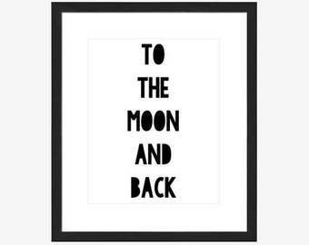 8x10 Digital Word Art - To the moon and back